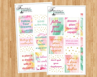 Erin Condren Inspirational Watercolor Stickers