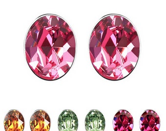 Oval Austrian Crystal Stud Earrings