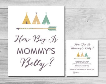 Tribal Baby Shower Game - How Big is Mommy's Belly? - Instant Download Printable - Baby Boy