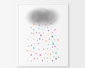 Colorful Raindrops,  Affiche Scandinave, nursery print, nursery decor , kids poster, Watercolor Print, Cloud nursery decor, Colorful