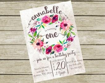 Birthday Party Invitation for Girls Printable, Birthday Party Invitation Girl, First Birthday Invitation, Girl Birthday Invitation