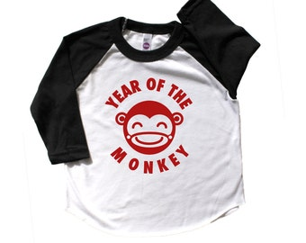 Year of The Monkey Infant Toddler Baseball Raglan, Chinese New Year Shirt, Kids Chinese New Year, Lunar New Year Shirt, Monkey Shirt