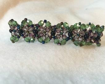 Purple and Green Flower Bracelet