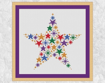 Rainbow stars cross stitch pattern, modern counted cross stitch chart PDF, simple, easy, quick, beginner, baby, girl, boy, magic - printable
