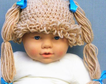 Cabbage Patch Hat, Crochet Cabbage Patch Wig, Knitted Wig, Halloween Cabbage Patch Kid Costume,