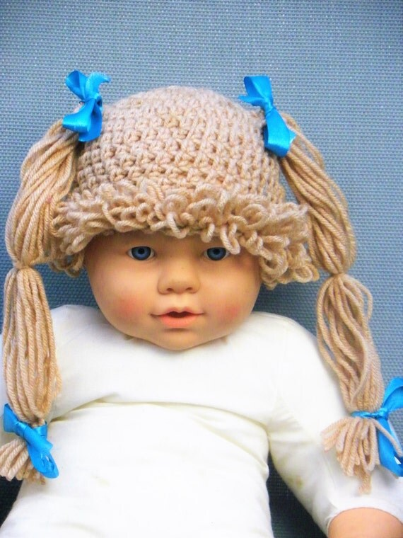 Cabbage Patch Hat Crochet Cabbage Patch Wig Knitted Wig