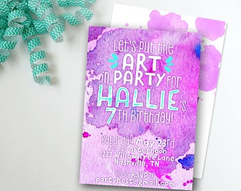 Art Party Invitation, Kid Birthday Invite, Printable Digital File JPG or PDF, Painting Coloring Watercolor, Girl