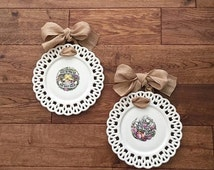 October Sale Two (2) Shabby Plates, Ceramic Wall Plates, Currier and Ives, Cottage Plates, Give US This Day Our Daily Bread, Peace Be To Thi