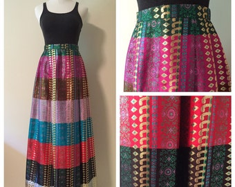Vintage Colorblock Hindu Princess Skirt