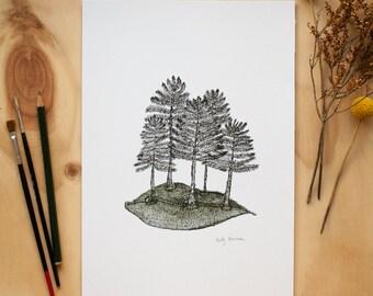 Inky Trees Print