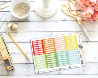 Social Media Headers #1 || 56 Planner Stickers