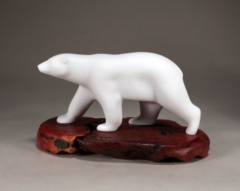 Polar Bear Statue by John Perry Striding on Burl