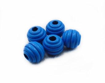 Blue Wood Beads, Wooden Beads,  Blue Wooden Beads, Wood Beads, Barrel Wood Beads, Blue Beads, Jewelry Making, Graft Supplies