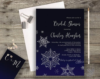 Midnight Blue Navy Snowflake Chalkboard Calligraphy Bridal Shower Invitation A7 Invitation Printable Invitation Printed Winter Fall Wedding