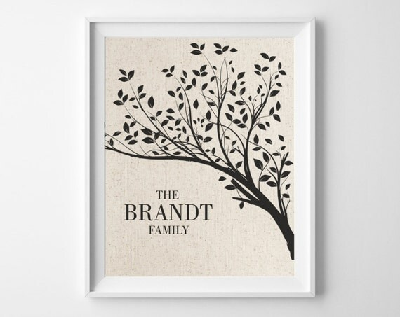 Family Tree Wedding Gift: Cotton 2nd Anniversary Gift Family Tree Print Personalized