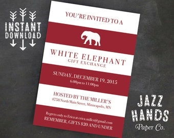 Christmas party invitation template diy printable holiday white elephant invitation template diy printable white elephant gift exchange white elephant gift solutioingenieria Images