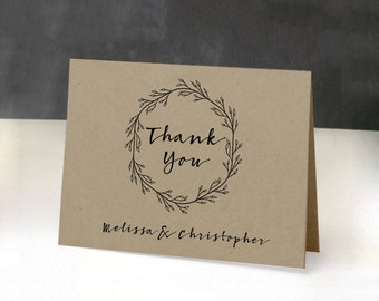 Printable Thank You Card Template   Thank You Card Kraft Paper   Rustic   Wreath   Black and White   Leaves   Simple   Minimal   Kraft