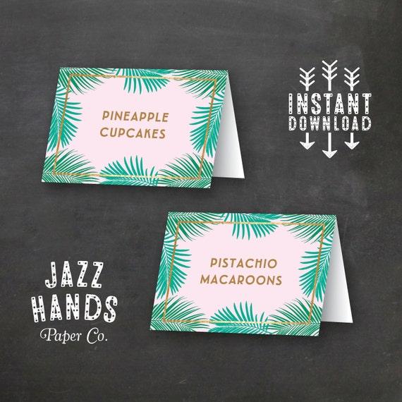 tropical food labels diy printable birthday party