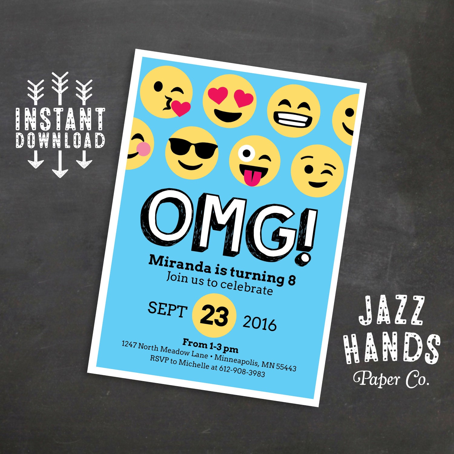 Emoji Birthday Invitation Template Blue Emoji Birthday
