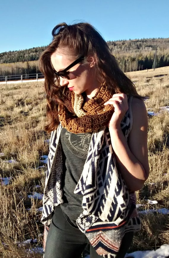 Crochet ombre infinity scarf in chocolate, camel, and wheat