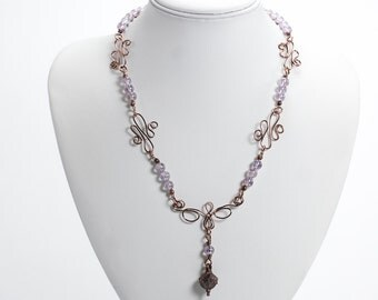 Amethyst & Antique Copper Necklace