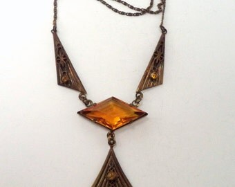 Art Deco Czech Glass Necklace Gilt Brass Orange Citrine Color Glass