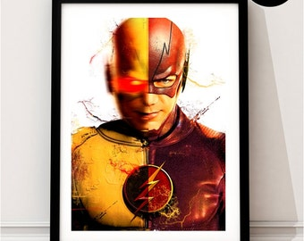 The Flash & Reverse Flash Art Print, DC Superhero Inspired, Quote, Justice League, Flash CW, Barry Allen, Grant Gustin, TV Series, Zoom
