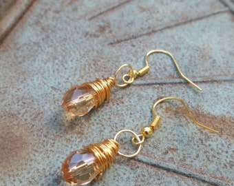 Gold sterling silver wire wrapped glass bead dangle earrings