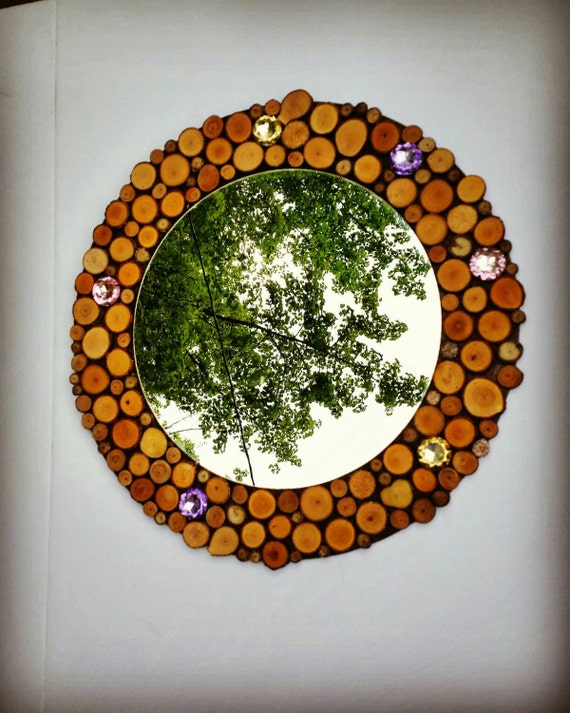 Wood Slice Wall Mirror Rustic Home Decor Bling Decorshabby