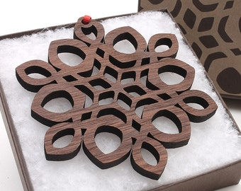 Wood Snowflake Ornament - Christmas 2016 Detailed Design in Black Walnut by Nestled Pines