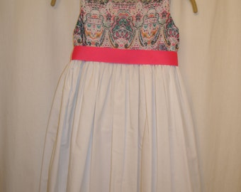 Handcrafted Little Girl's Dress With Pink Ribbon Size 6