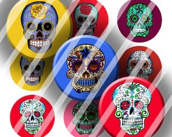 Digital Bottle Cap Collage Sheet - Sugar Skulls - 1 Inch Circles Digital Images for Bottlecaps