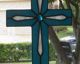 Stained Glass Cross Blue White Religious Suncatcher Home Decor Window