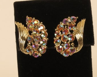 Estate vintage pink AB rhinestone clip on earrings silver tone unsigned costume