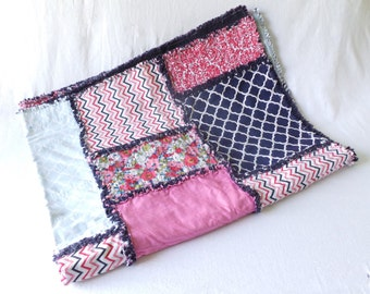 Pink and Navy Crib Blanket or Toddler Throw