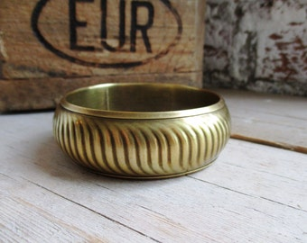 VINTAGE Messing bangle armband met golvend patroon