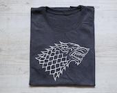 House stark sigil tee t-shirt shirt adult unisex soft triblend vintage house stark sigil tv show tee Game of Thrones shirt heather dark gray
