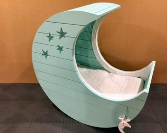 Moon Cradle with adjustable bed - custom star layout - custom name layout