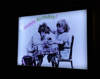 Vintage Happy Birthday Art Luminaire
