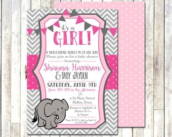 BABY SHOWER INVITATION - Pink & Grey Chevron - Baby Girl - A sweet Little Peanut - Elephant