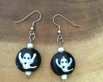 Ghost Earrings, Lampwork Earrings, Halloween Earrings, White Ghost Earrings, Halloween Jewelry, Ghost Jewelry