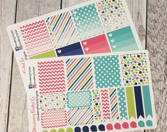 Green, Hot Pink, Navy Planner Stickers - - Made to fit Vertical Layout