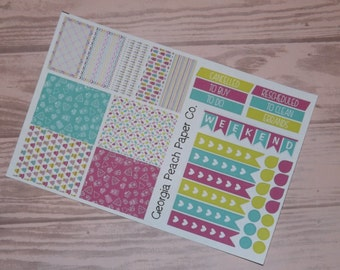 Christmas Themed Planner Stickers in Rainbow Colors- Made to fit Vertical Layout