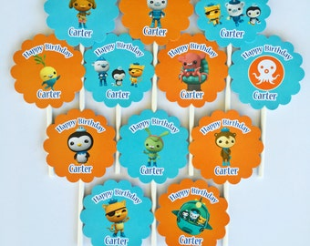 12 Personalized double sided Octonauts Theme Cupcake Toppers Birthday Party Favors