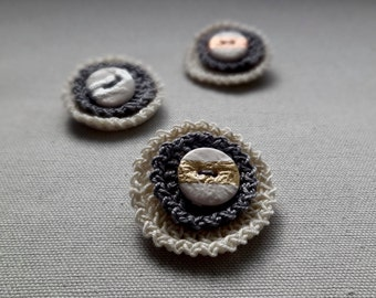 Crochet Brooch. Grey crochet pin.