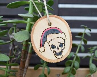Steampunk Ornament - Steampunk Skull Santa - Steampunk Christmas - Wood Burned Steampunk - Dead Santa Ornament - Alternative Ornament
