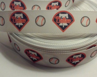"Philadelphia Phillies inspired 7/8"" Grosgrain Ribbon"