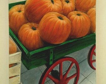 Pumpkins / country vegetable farm unique original oil painting on canvas