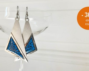 Blue stainless steel earrings