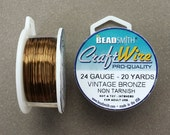 24 gauge Vintage Bronze Plated Craft Wire >> 20 yards, 24 GA, Non-Tarnish Antique Brass, Beadsmith, Copper Core Wire (Made in USA)